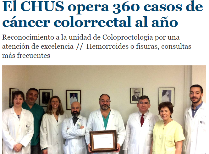 Acreditación como Unidad Avanzada de Coloproctología del CHUS