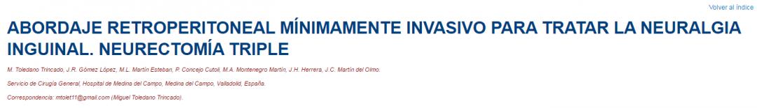 Premio al mejor vídeo de la Sección de Cirugía Mínimamente invasiva: Abordaje retropreritoneal para la neuralgia inguinal