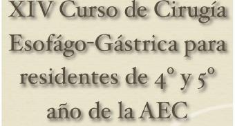 XIV Curso de Cirugía Esófago – Gástrica para residentes de 4º y 5º año de la AEC